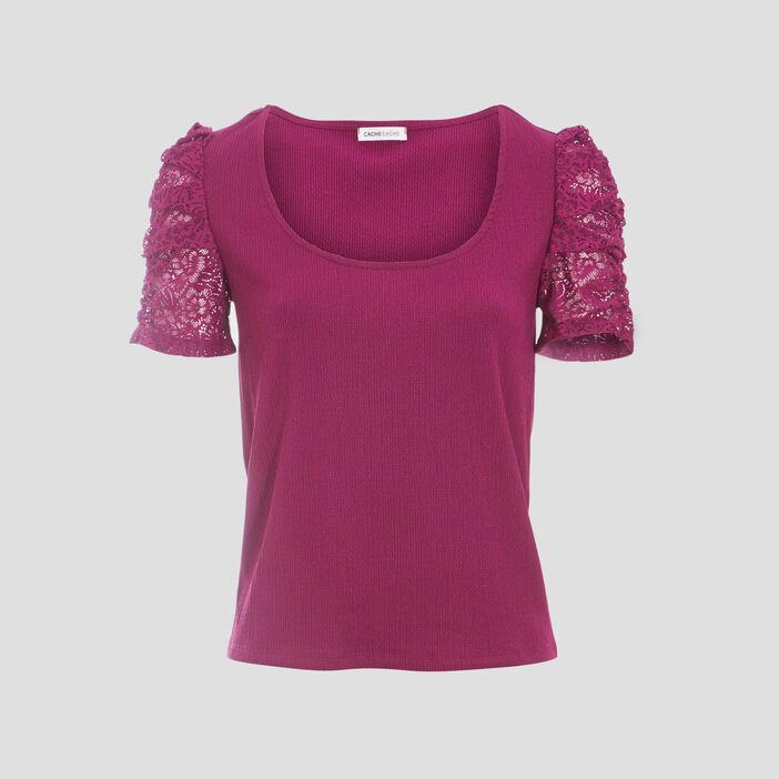 T-shirt manches courtes violet foncé femme