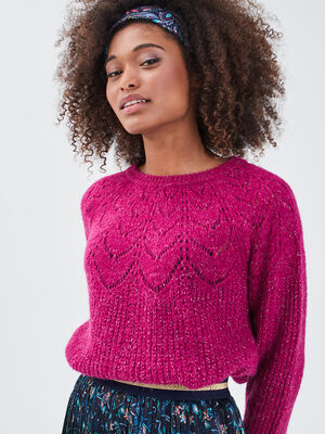 Pull avec details ajoures violet clair femme
