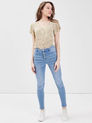 Jeans taille haute boutonne denim bleach femme
