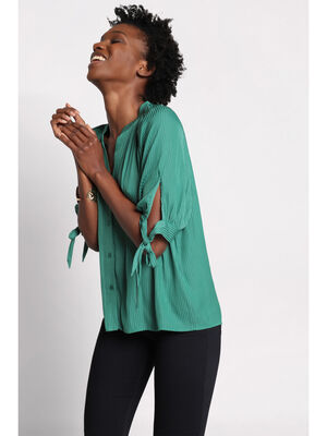 Chemise manches 34 nouees vert emeraude femme