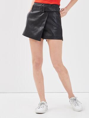 Jupe short ceinturee noir femme