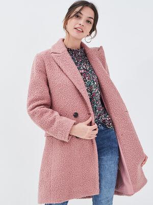 Manteau evase boutonne rose pastel femme