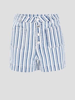Short boutonne en jean denim blanc femme