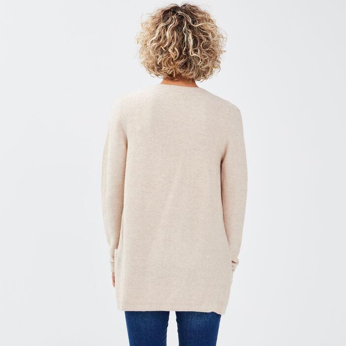 Gilet manches longues à poches sable femme