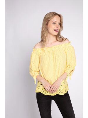 Top rayures et broderies jaune citron femme