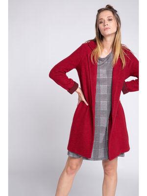 Manteau long maille legere rouge femme