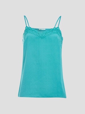 Debardeur bretelles fines bleu turquoise femme