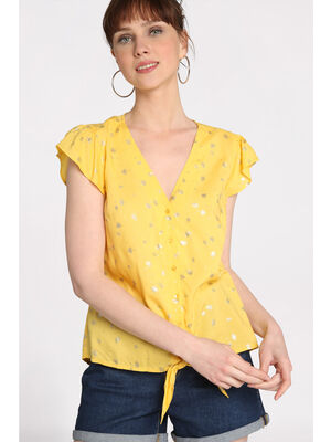 Blouse manches courtes volants jaune or femme