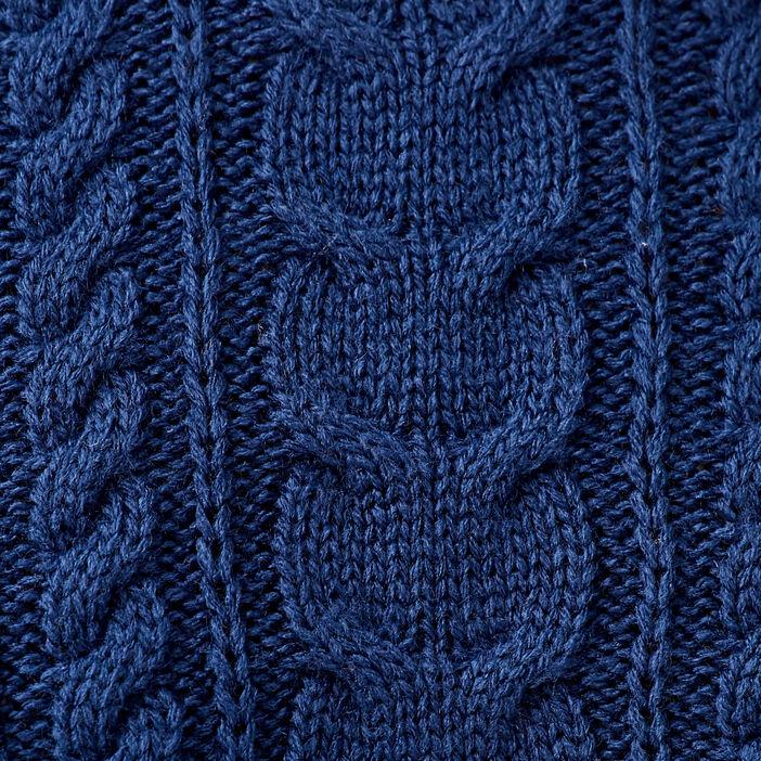 Pull avec torsades bleu marine femme