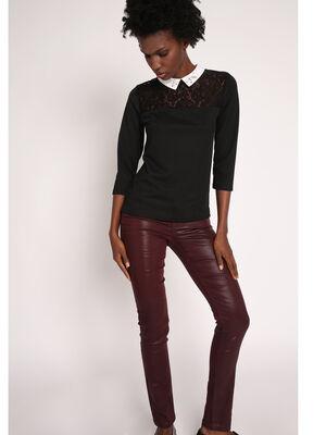 Pantalon slim enduit cinq poches rouge fonce femme