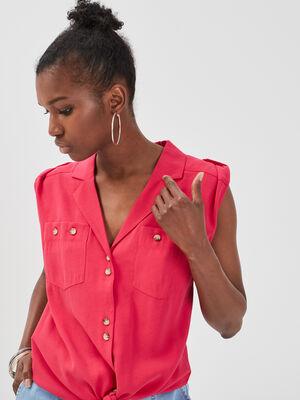 Chemise fluide nouee rose fushia femme