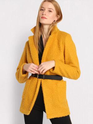 Manteau mi long jaune moutarde femme