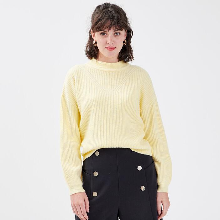 Pull avec col montant jaune pastel femme
