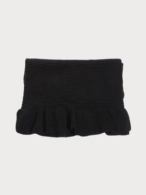 charpe tricotee a volants noir femme