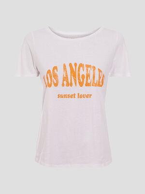 T shirt ajuste a message blanc femme