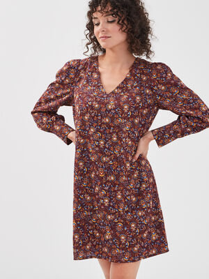 Robe droite avec col en V marron fonce femme