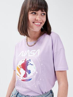 T shirt manches courtes NASA mauve femme