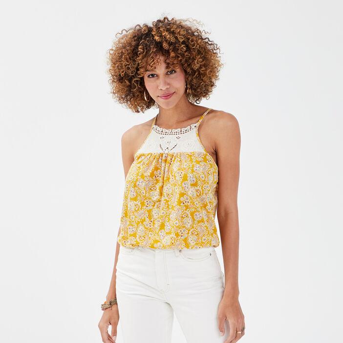 Débardeur bretelles fines jaune moutarde femme