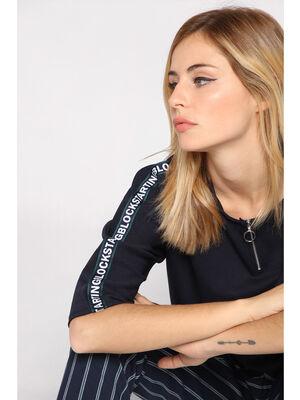 T shirt manches 34 lisere bleu marine femme