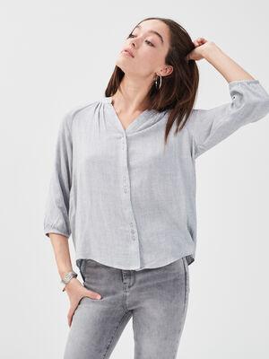 Blouse manches 34 gris clair femme