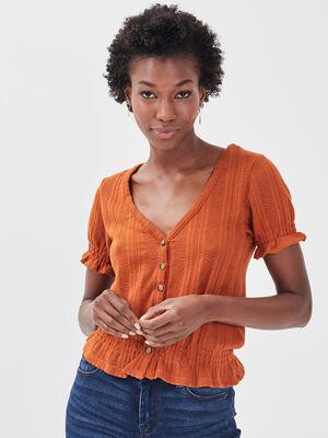 T shirt manches courtes marron cognac femme
