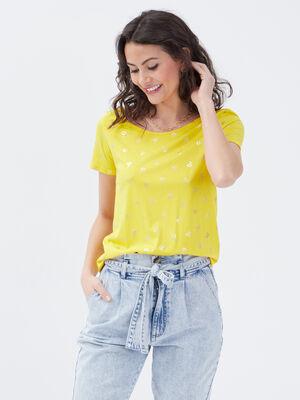 T shirt manches 34 jaune femme