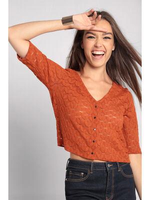 Gilet manches 34 ajoure orange fonce femme