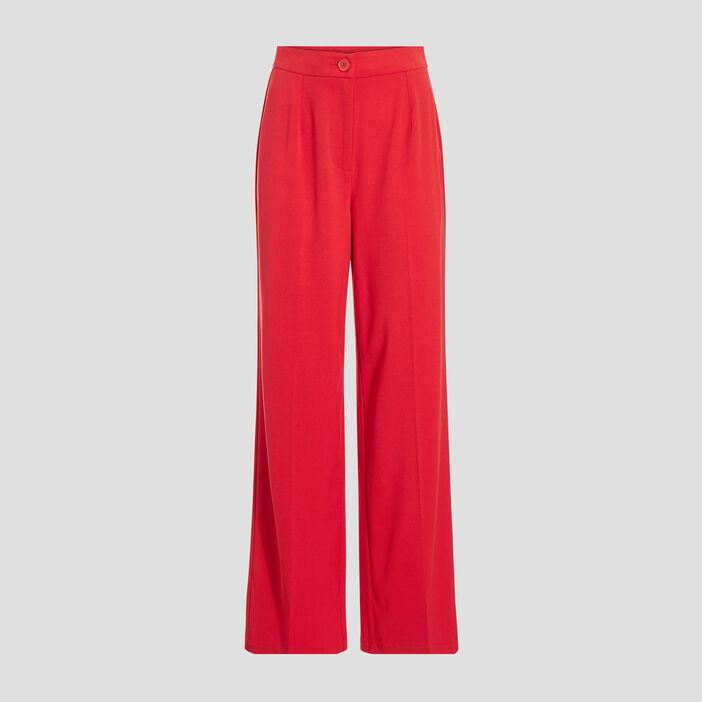 Pantalon city large rouge femme