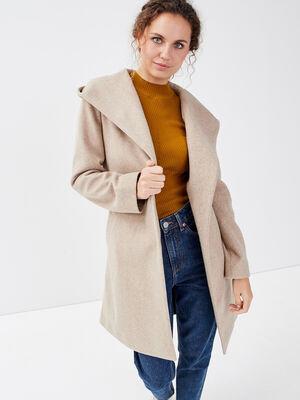 Manteau ample a capuche sable femme