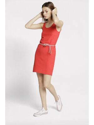 Robe courte detail ceinture rouge femme