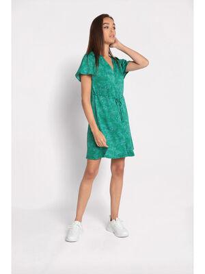 Robe droite boutonnee vert femme