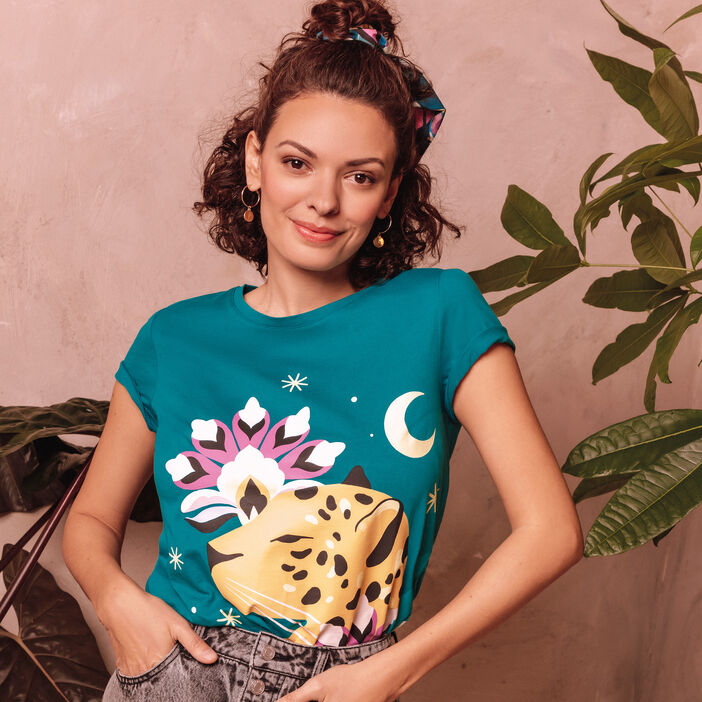 T-shirt manches courtes vert turquoise femme