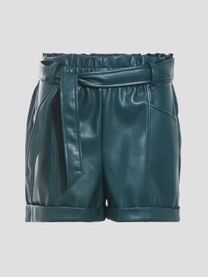 Short paperbag similicuir vert fonce femme