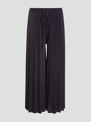 Pantalon jupe culotte plisse bleu marine femme