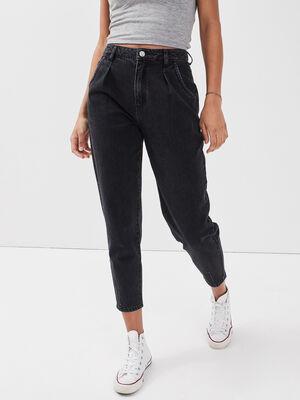 Jeans slouchy avec pinces denim noir femme
