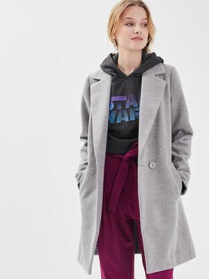 Manteau cintre col crante gris clair femme