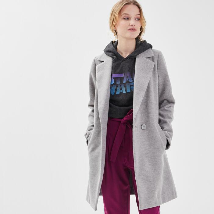 Manteau cintré col cranté gris clair femme