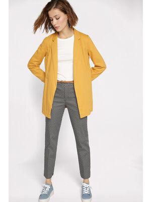 Veste droite a col crante jaune or femme