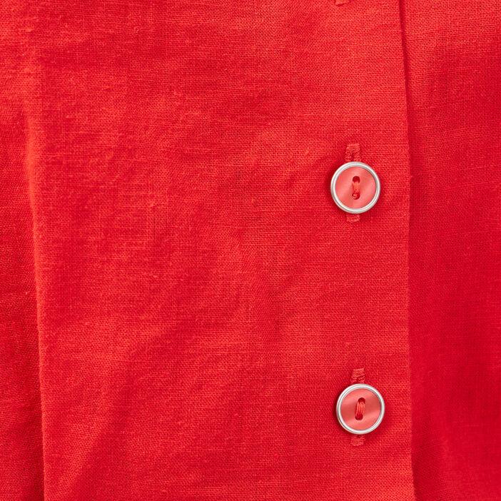 Combishort ceinturé lin rouge femme