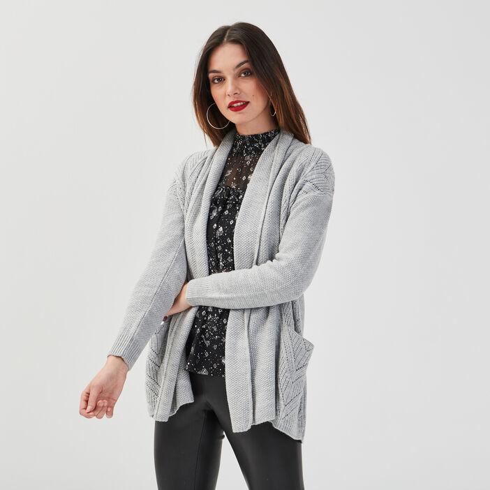 Gilet mi-long col châle gris clair femme