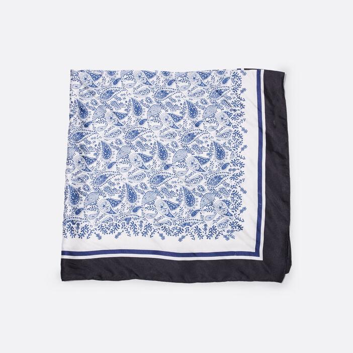 Foulard carré satiné bleu marine femme
