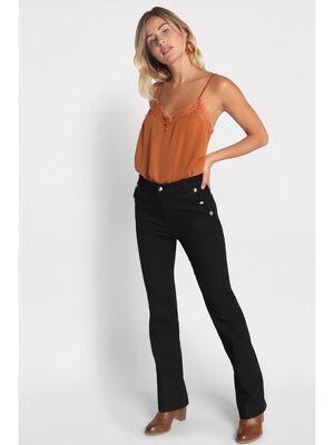 Jeans regular effet pont denim noir femme