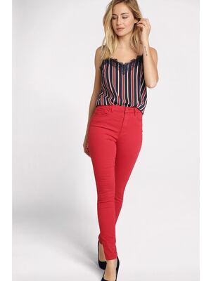 Pantalon skinny taille haute rouge fonce femme
