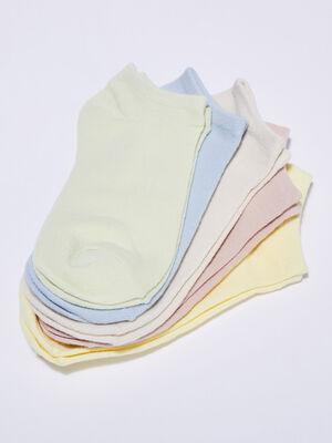 Lot de 5 paires chaussettes unies jaune pastel femme