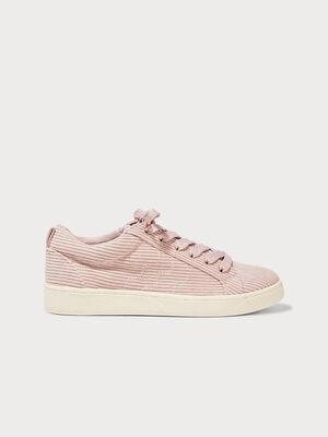 Baskets plates velours cotele rose pastel femme