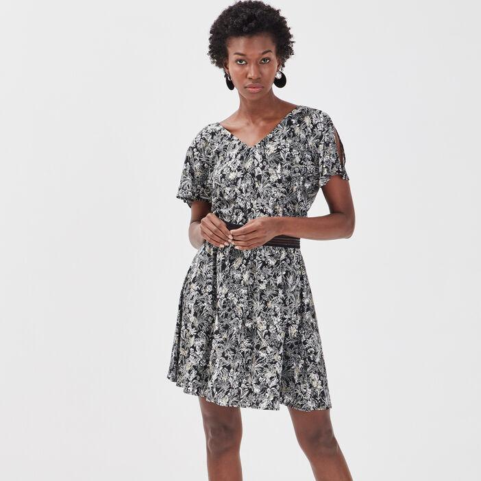 Robe évasée détail dos noir femme
