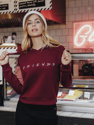 Sweat Friends avec capuche bordeaux femme