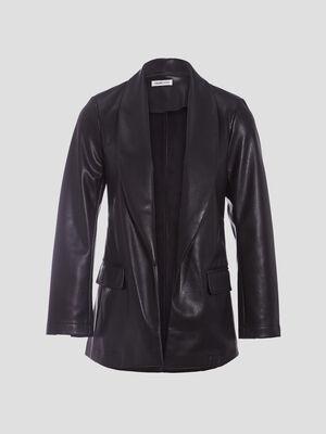 Veste droite avec col chale noir femme