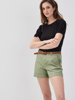 Short droit ceinture vert femme