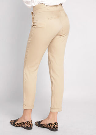 Pantalon city noue beige femme